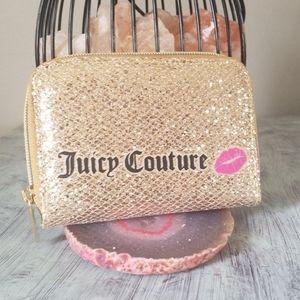 NEW! Juicy Couture Gold Sparkle Makeup Case